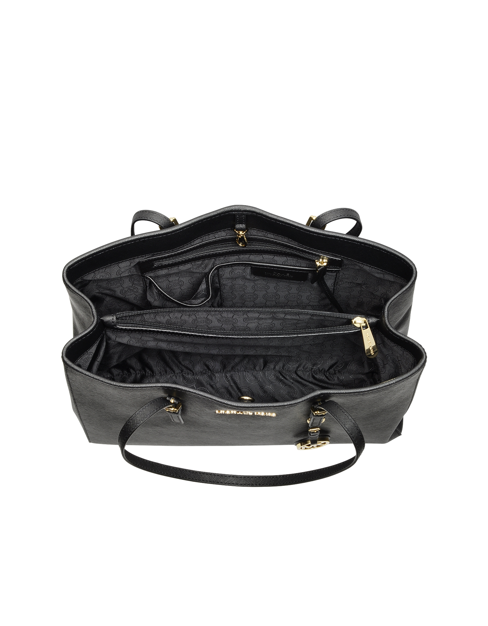 5d0ed8507daf Michael Kors Jet Set Travel Saffiano Leather Tote in Black - Lyst