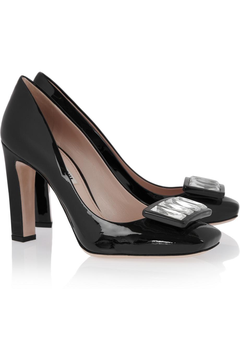 Miu Miu Womens Crystal-embellished patent-leather pumps
