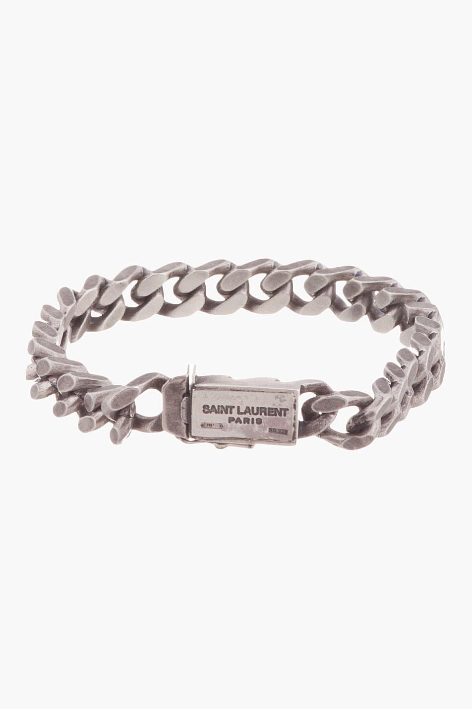 Saint Laurent Antiqued Silver Curb Chain Gormette Bracelet