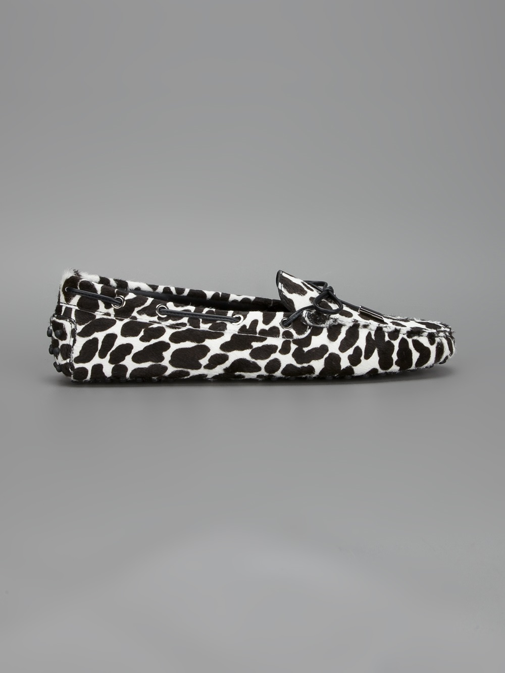 Tod's Animal Print Loafer in Black - Lyst