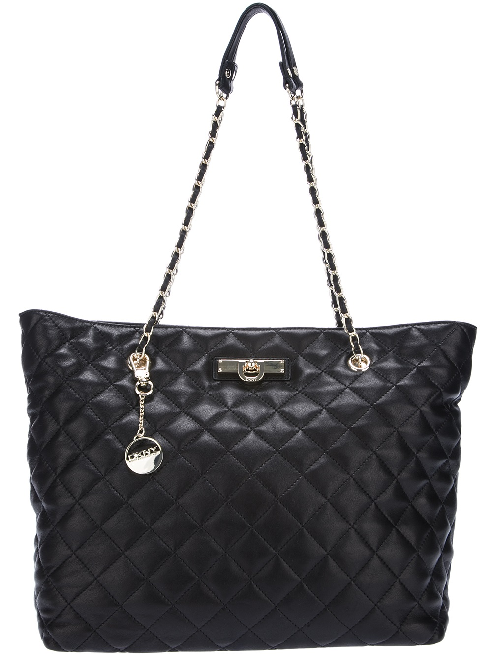 DKNY Quilted Leather Tote in Black Lyst