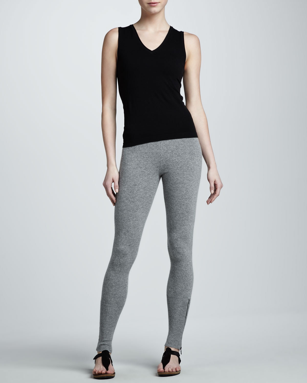Donna karan new york zipcuff leggings in gray grey for Donna karan new york