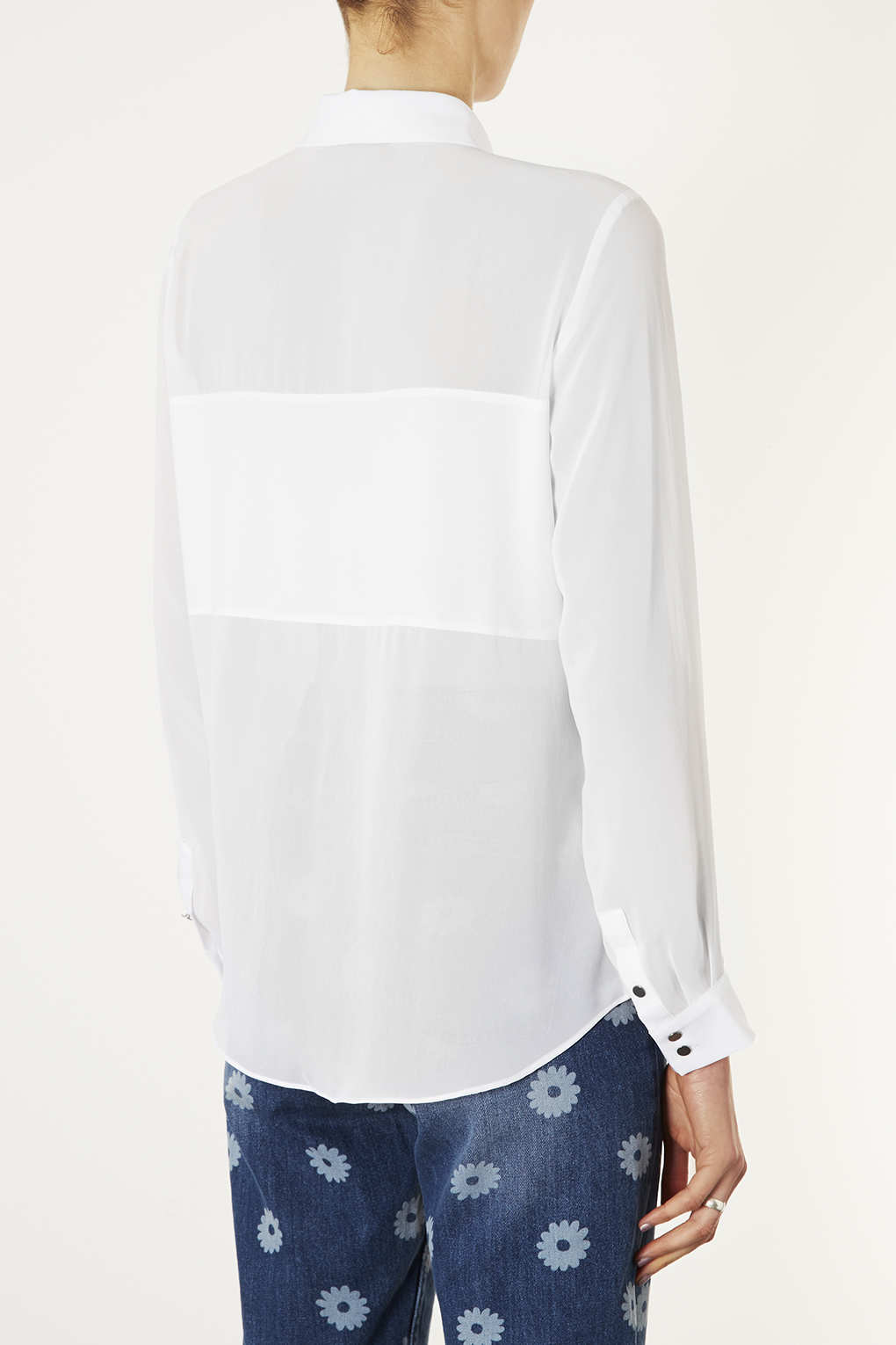 TOPSHOP Long Sleeve Panel Shirt in White