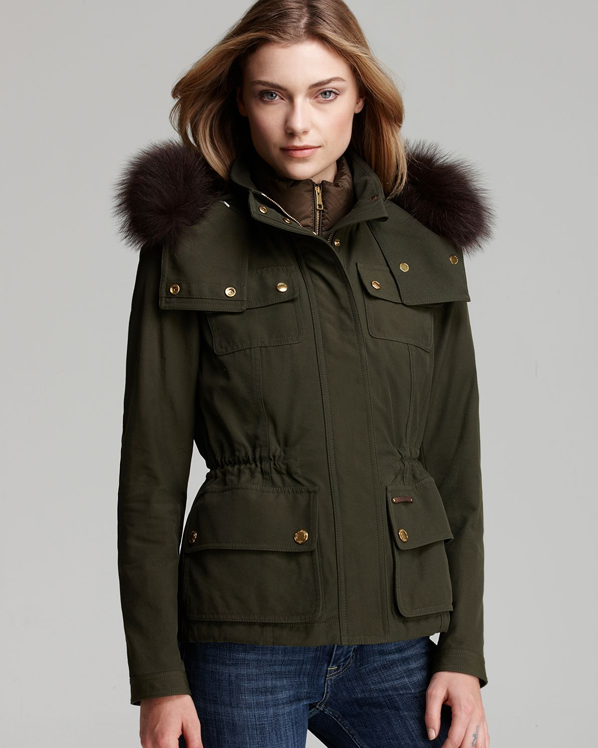 Burberry brit Cranbourne Parka with Detachable Fur Hood in Green ...