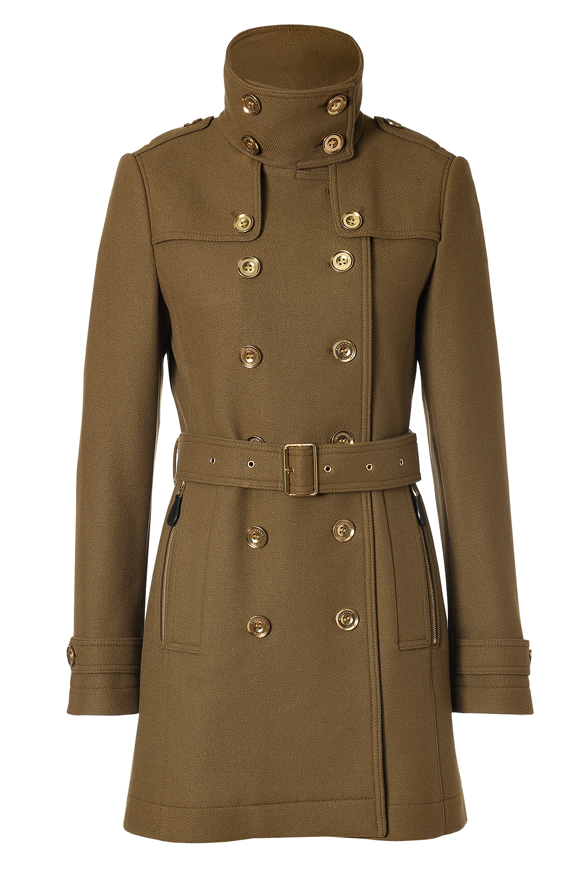 Burberry Brit Wool Cashmere Dayles Moore Coat in Olive ...