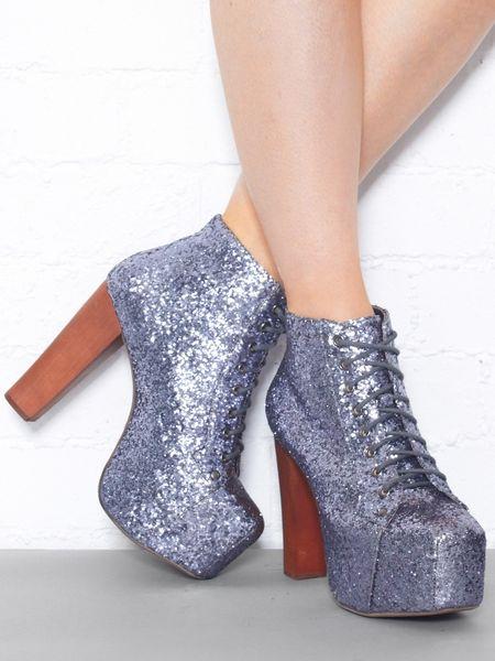 Jeffrey campbell lita glitter platform lace up boot in blue lyst - Jeffrey campbell lita platform boots ...
