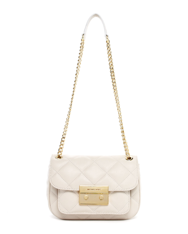 0c40a8fd9ecf66 michael kors white quilted handbag Jet Set Travel Logo Small ...