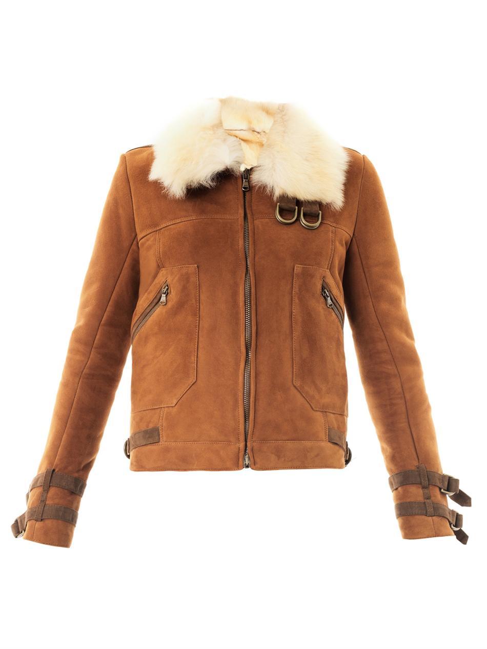 b98be01e5cd42 Veronica Beard Umber Suede Shearling Biker Jacket in Brown - Lyst