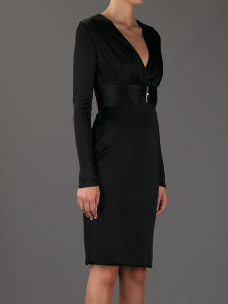 Versace Belted Fitted Dress In Black Lyst