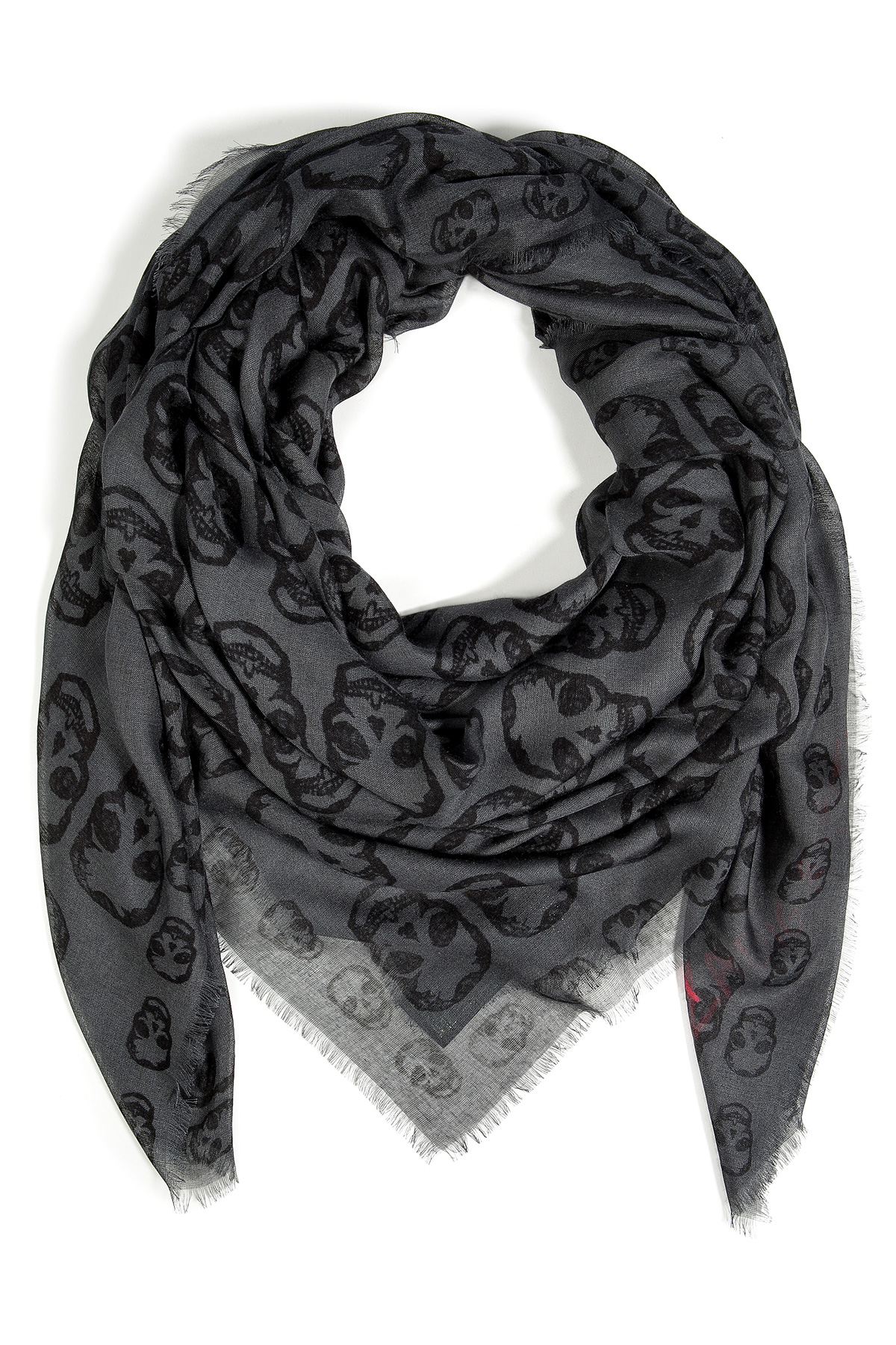 9a41b964ef2 Zadig & Voltaire Gray Kerry Skull Scarf in Iron