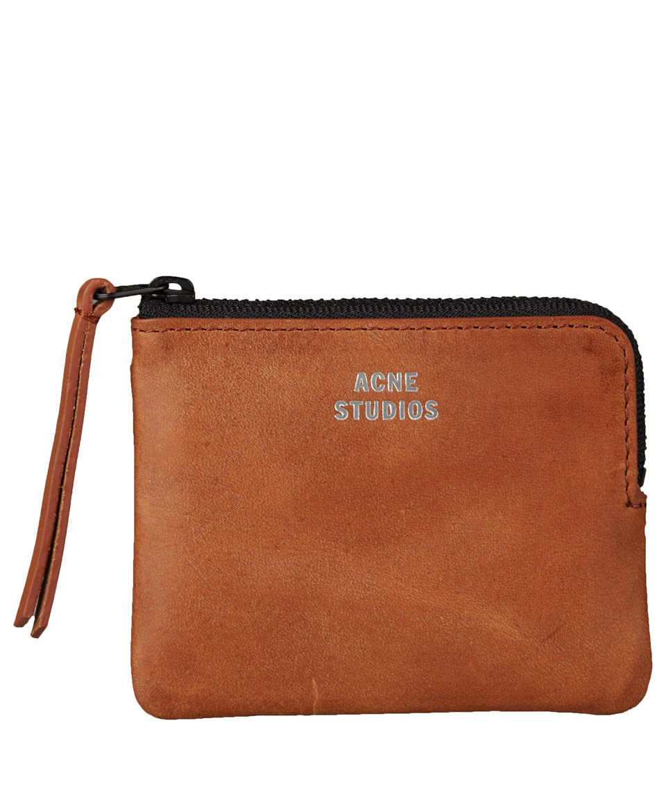Acne Studios Small Brown Leather Zip Coin Pouch In Brown
