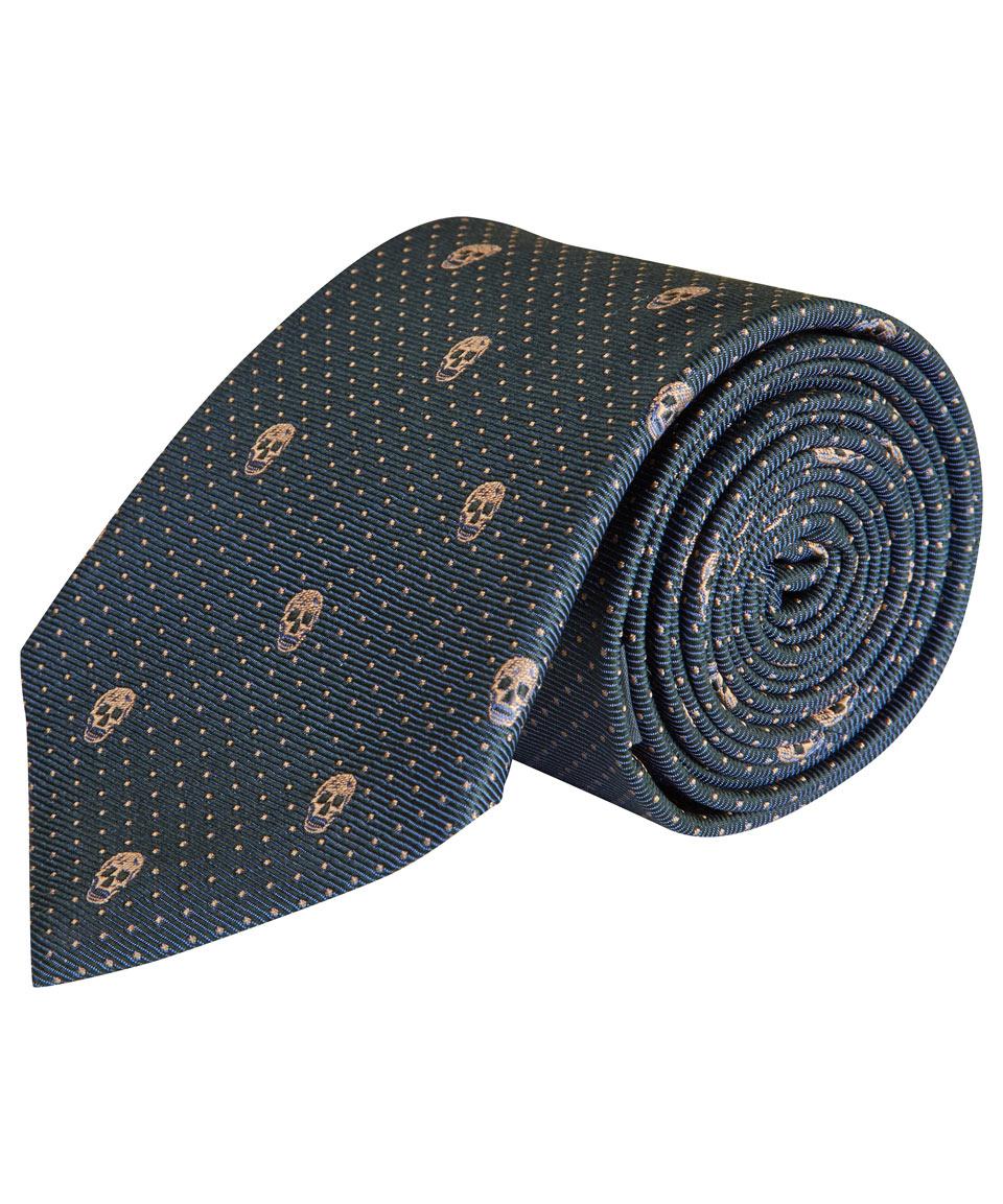 Mens Skull-Motif Dotted Silk Necktie Alexander McQueen Uy1GxHrF94