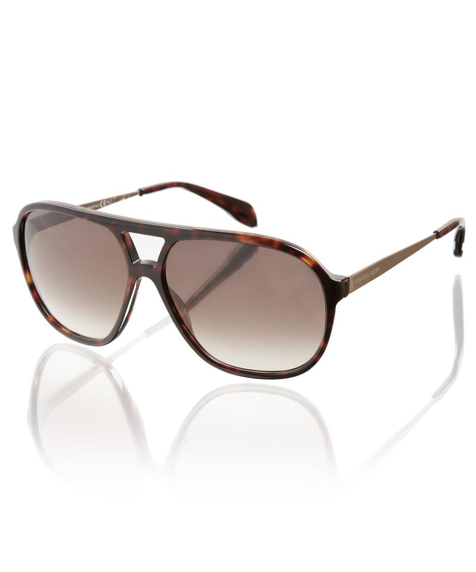 Mens Alexander Mcqueen Sunglasses  alexander mcqueen tortoise s aviator sunglasses in brown for