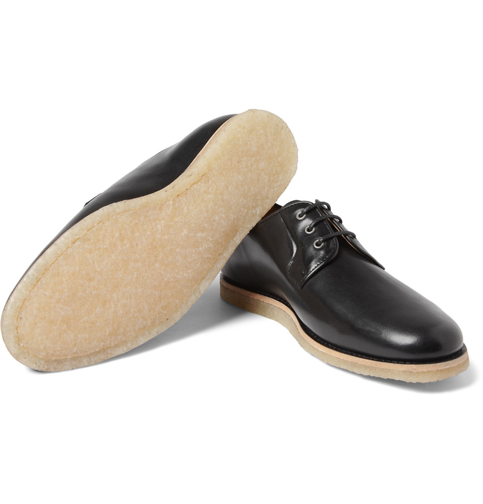 A.P.C. Crepesoled Leather Derby Shoes in Black for Men
