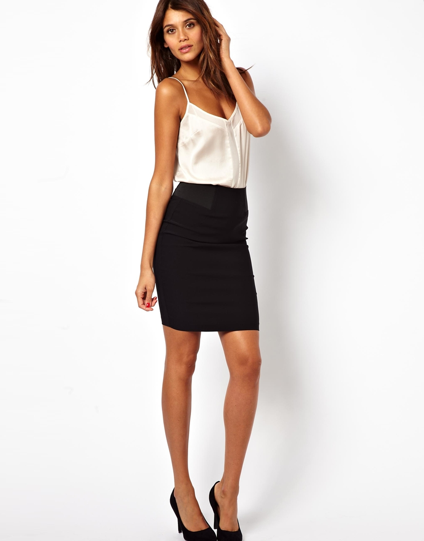 Asos High Waisted Pencil Skirt With Elastic Sides in Black | Lyst