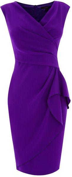 Coast Emmy Crepe Dress In Purple