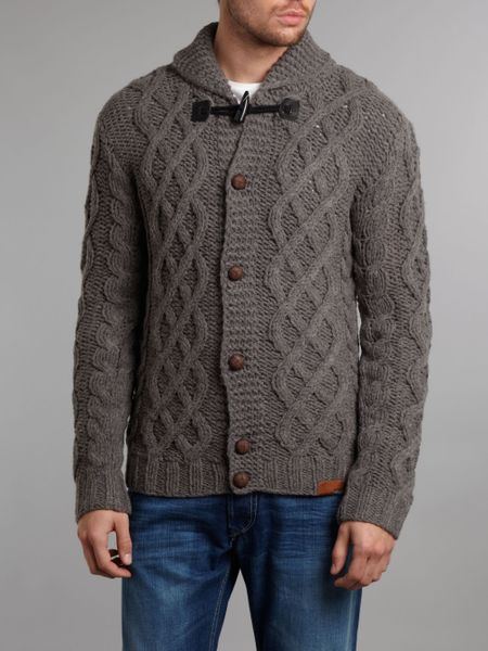 Diesel Shawl Neck Cable Knit Cardigan With Toggle Detail