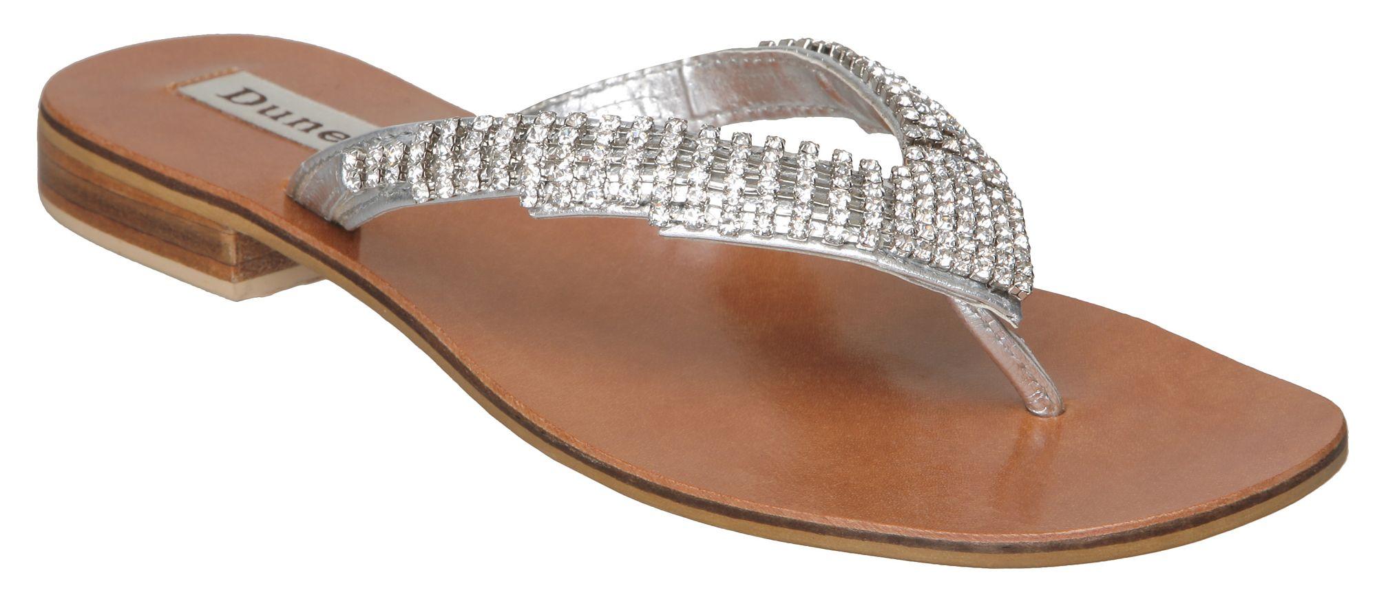 Dune Keeper D V Diamante Toe Post Sandals In Metallic Lyst