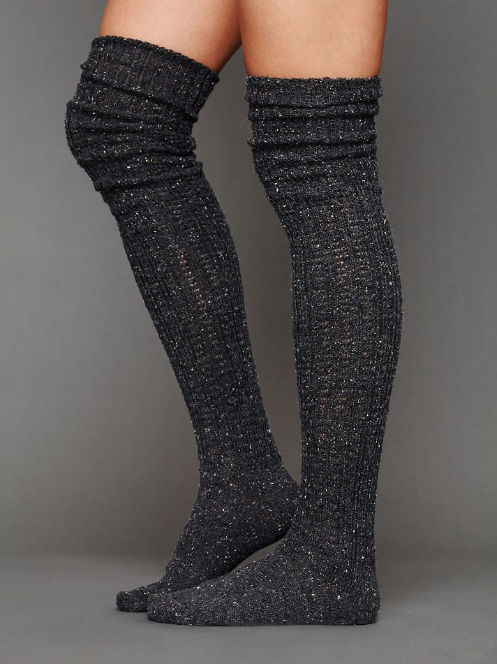 Free People Speckled Slouch Tall Sock in Gray (Grey) | Lyst