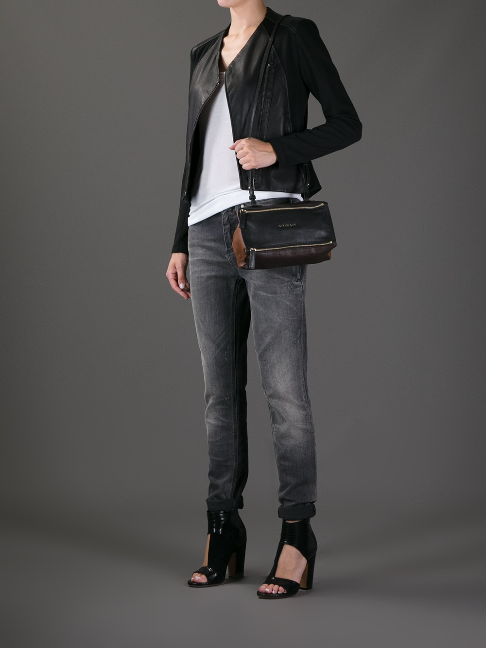 749df7e5ff Lyst - Givenchy Pandora Mini Bicolour Bag in Black