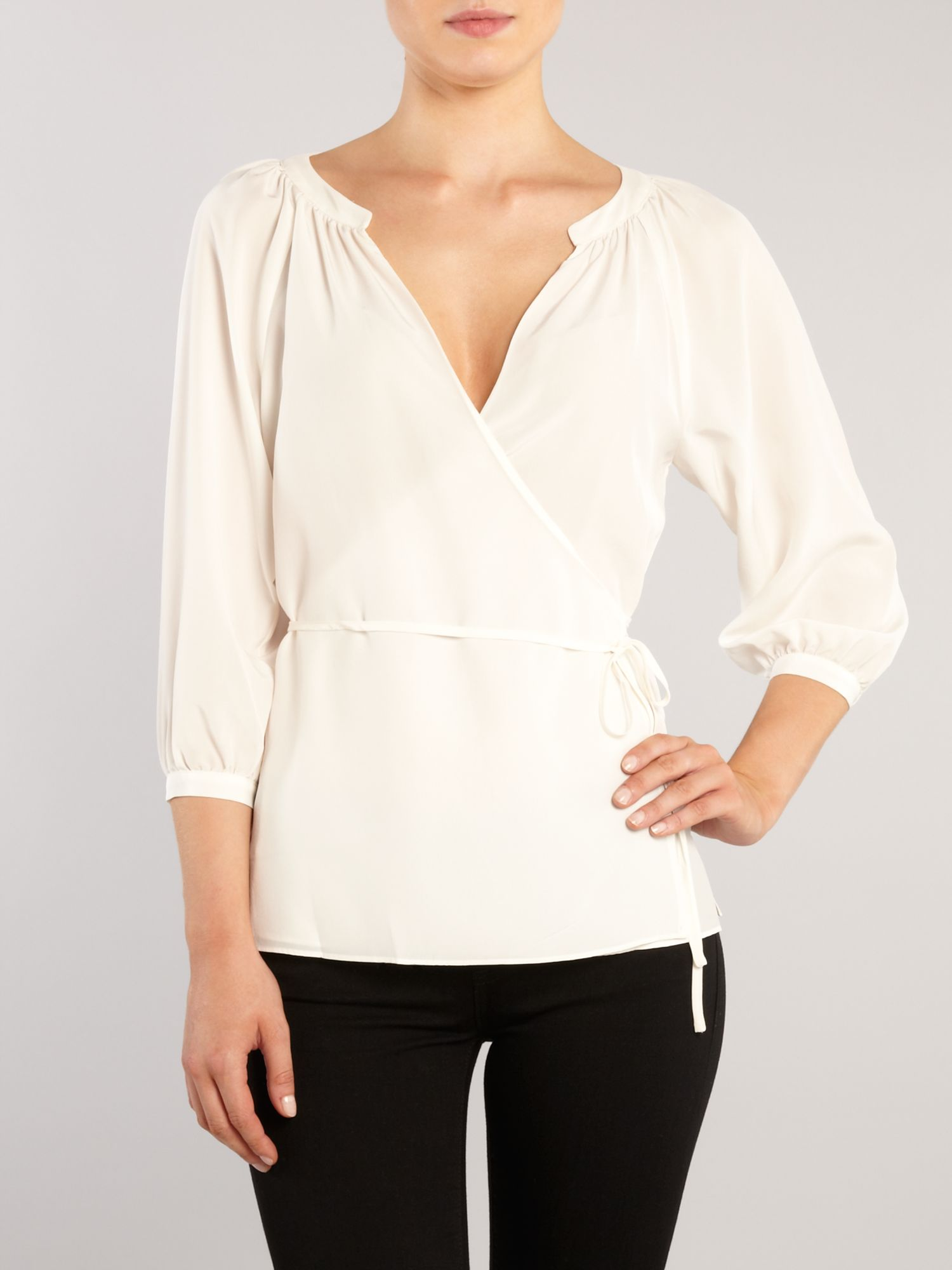 Lauren by ralph lauren Kora Silk Wrap Blouse in White | Lyst