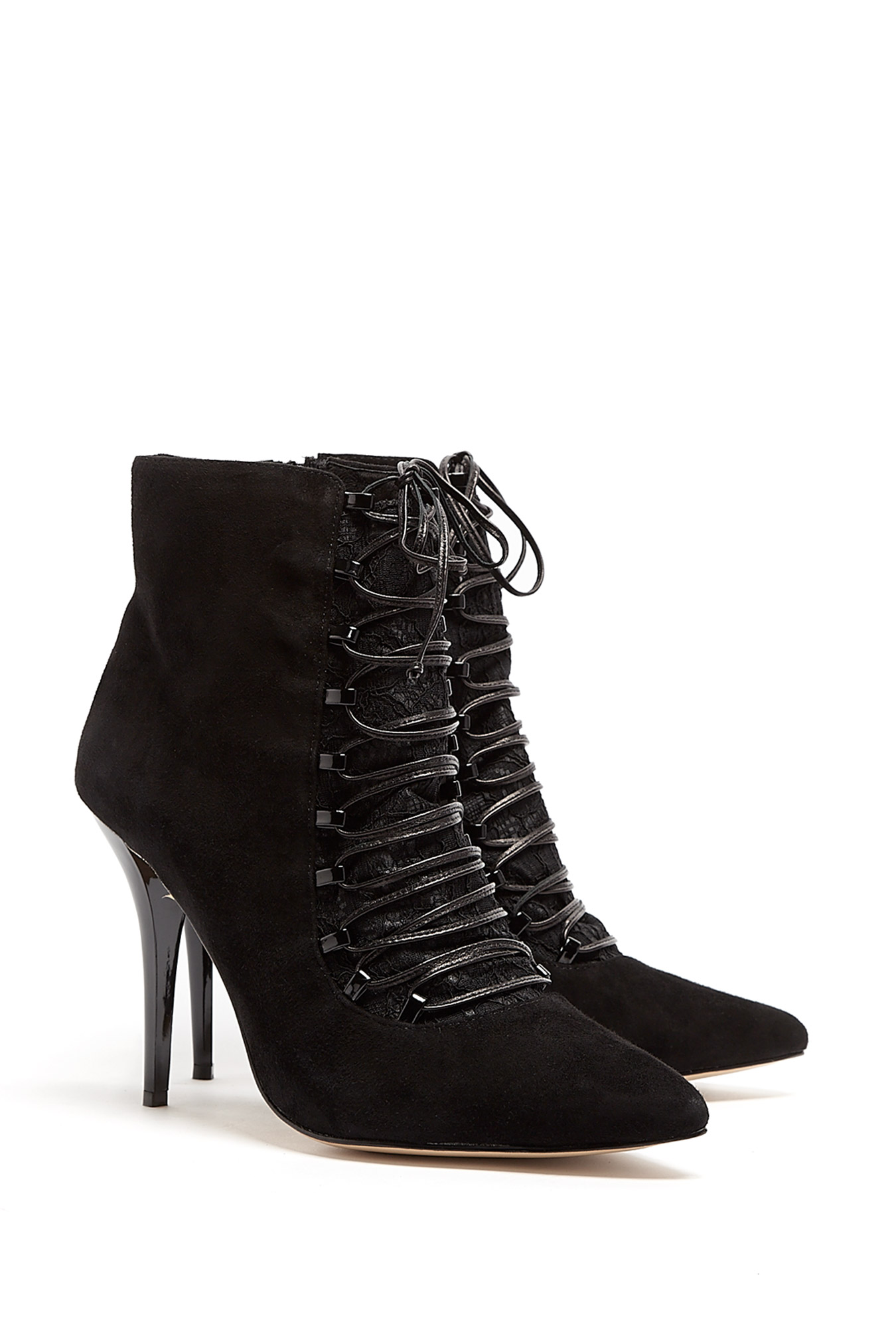choi zara suede laceup ankle boots in black lyst