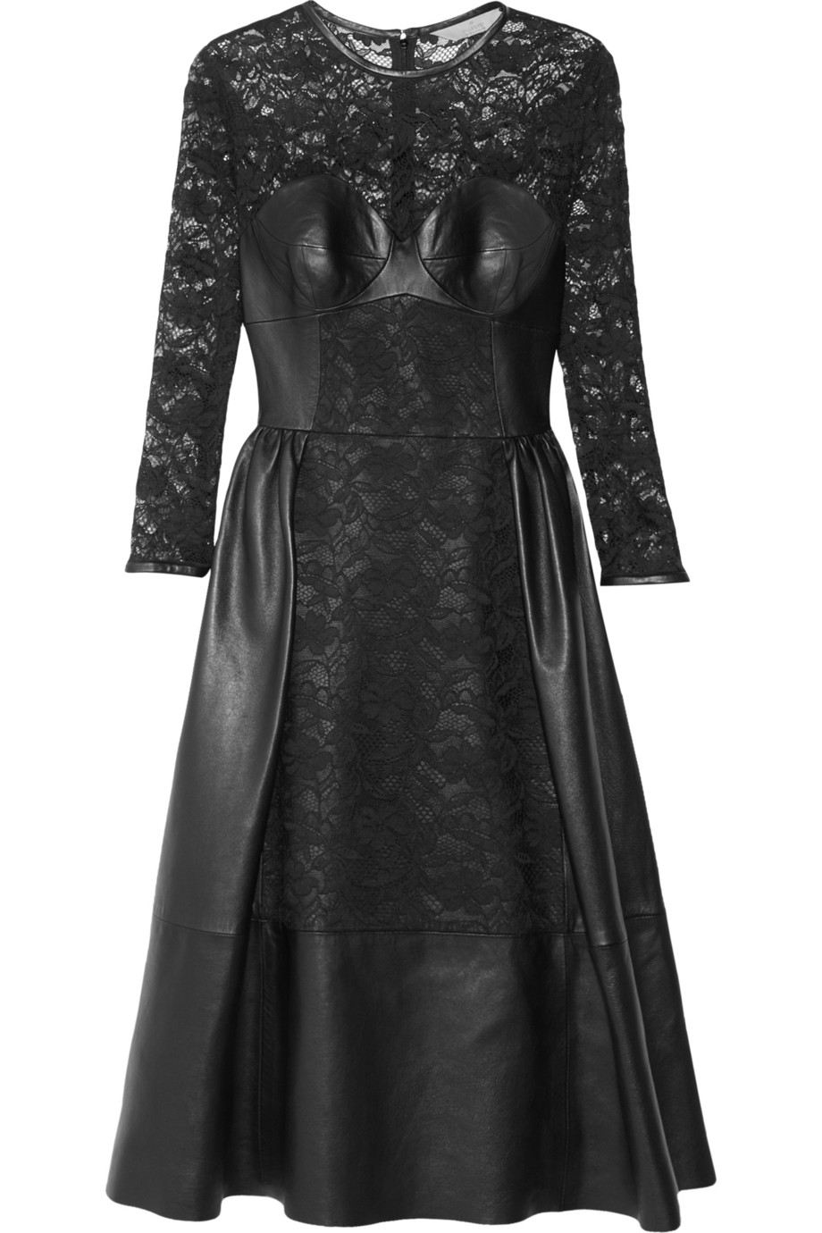 Mulberry Paneled Leather And Lace Dress In Black Lyst