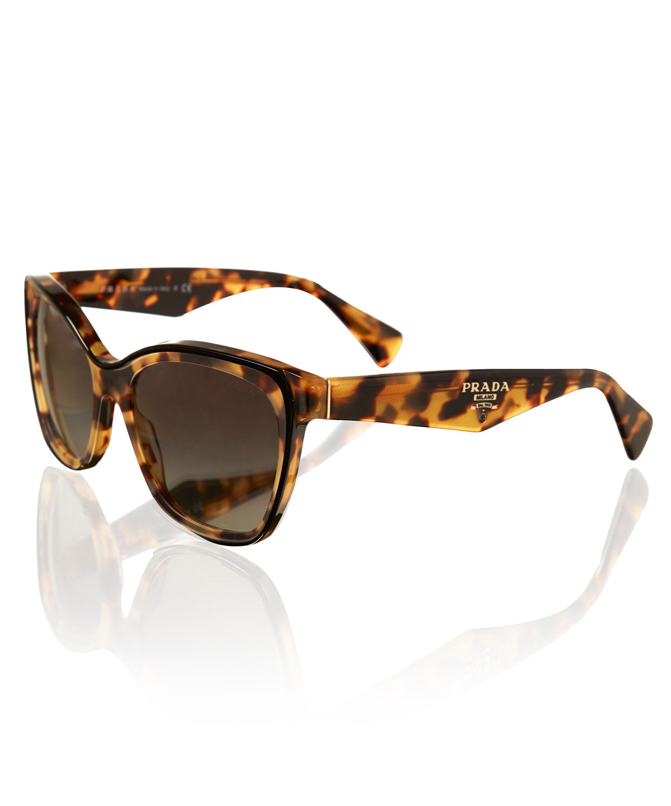 1c3fad234a31 Lyst - Prada Tortoiseshell Square Cat Eye Sunglasses in Metallic