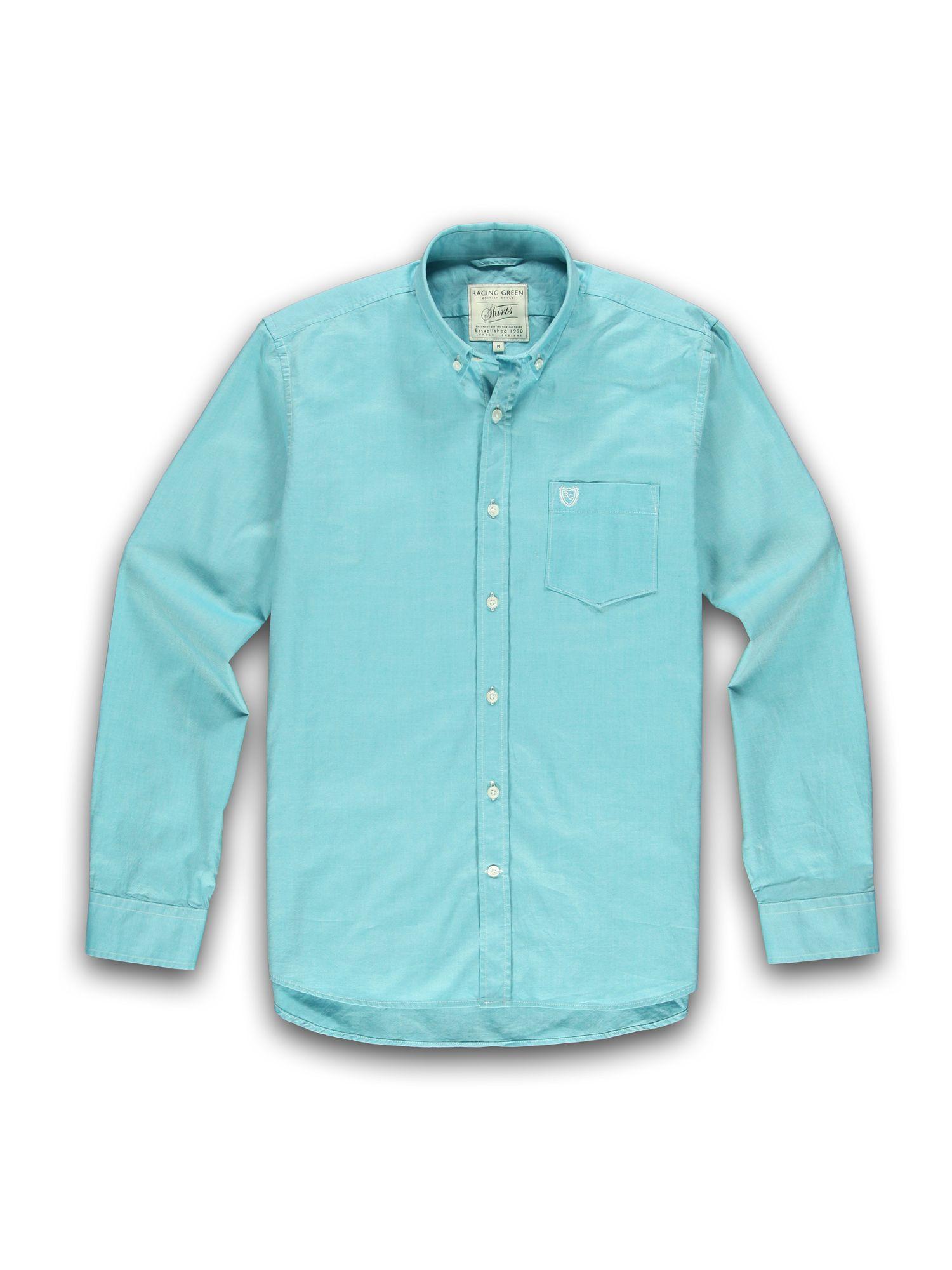Racing Green Long Sleeve Button Down Collar Shirt In Blue