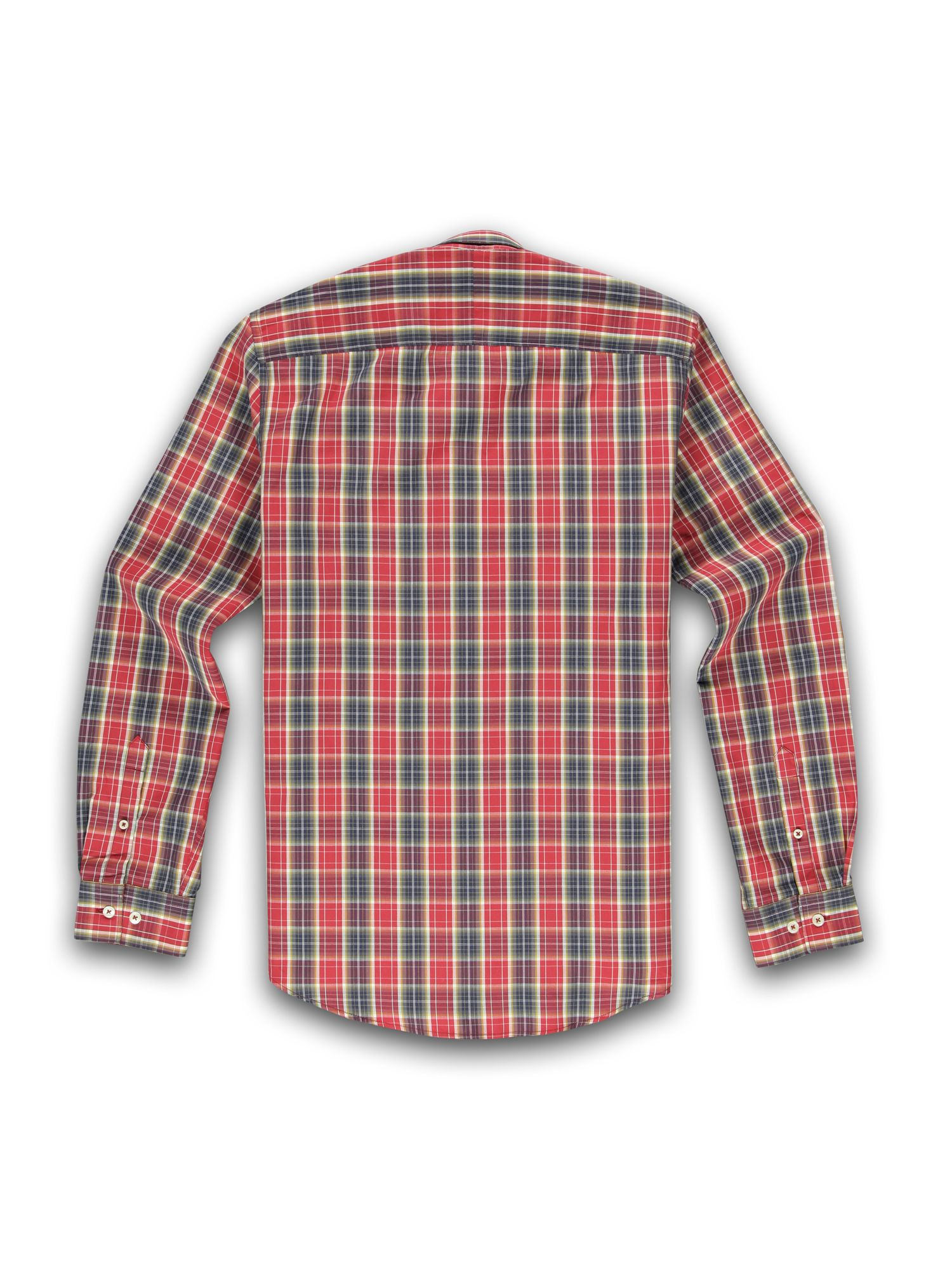 Racing green long sleeve red and navy checked shirt in red for Red and green checked shirt