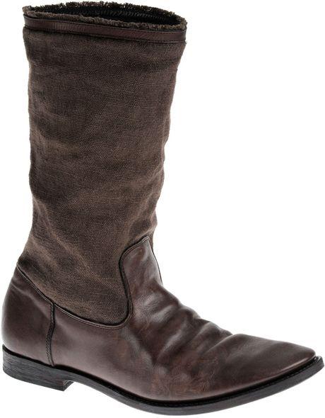 yohji yamamoto engineer boots in brown for lyst