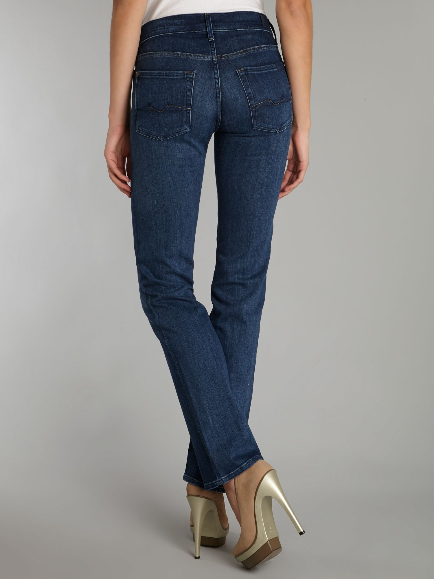 7 for all mankind High Waist Straight Leg Jeans in Pacific Shadows ...