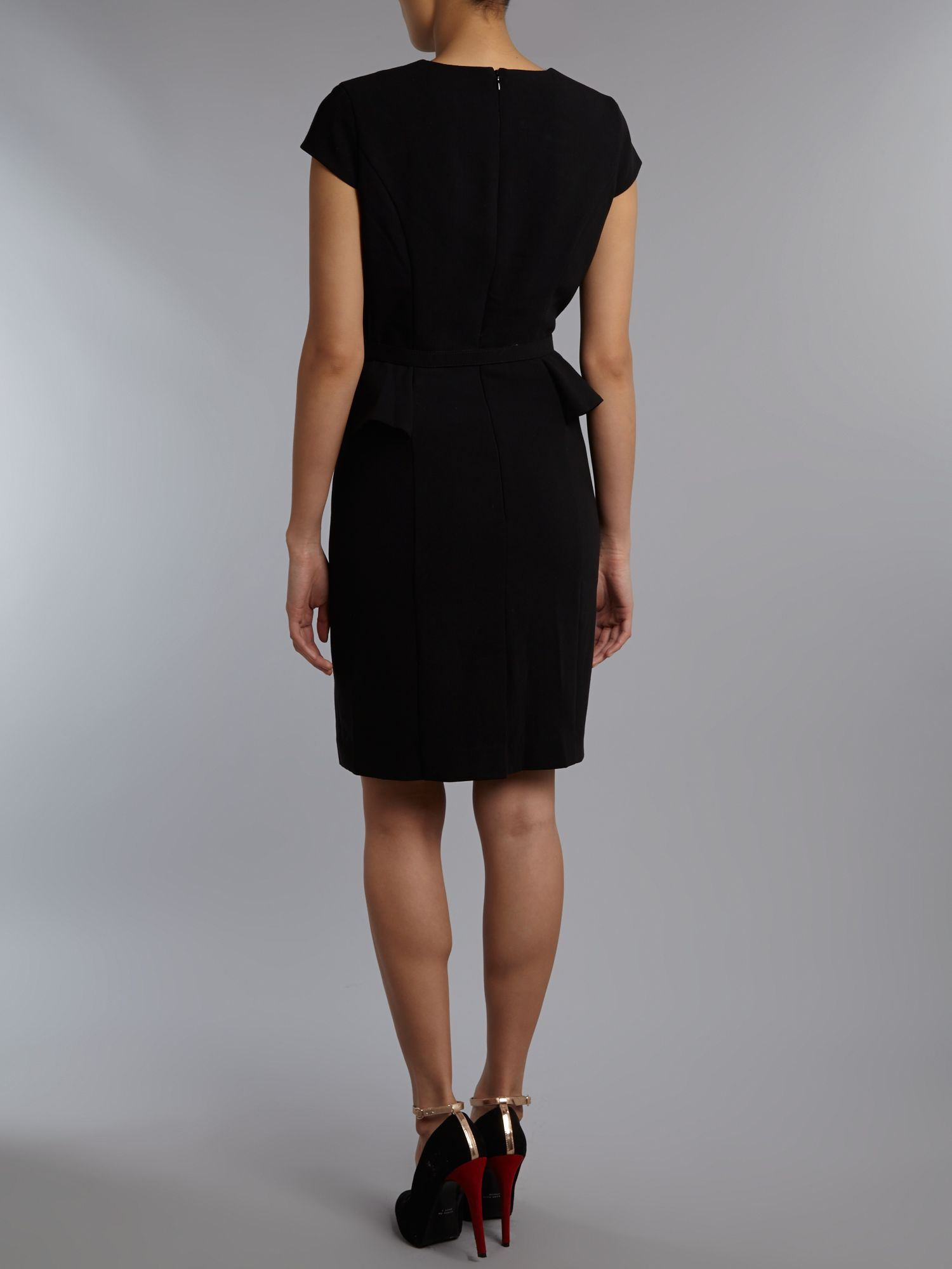 papell peplum dress with belt in black lyst