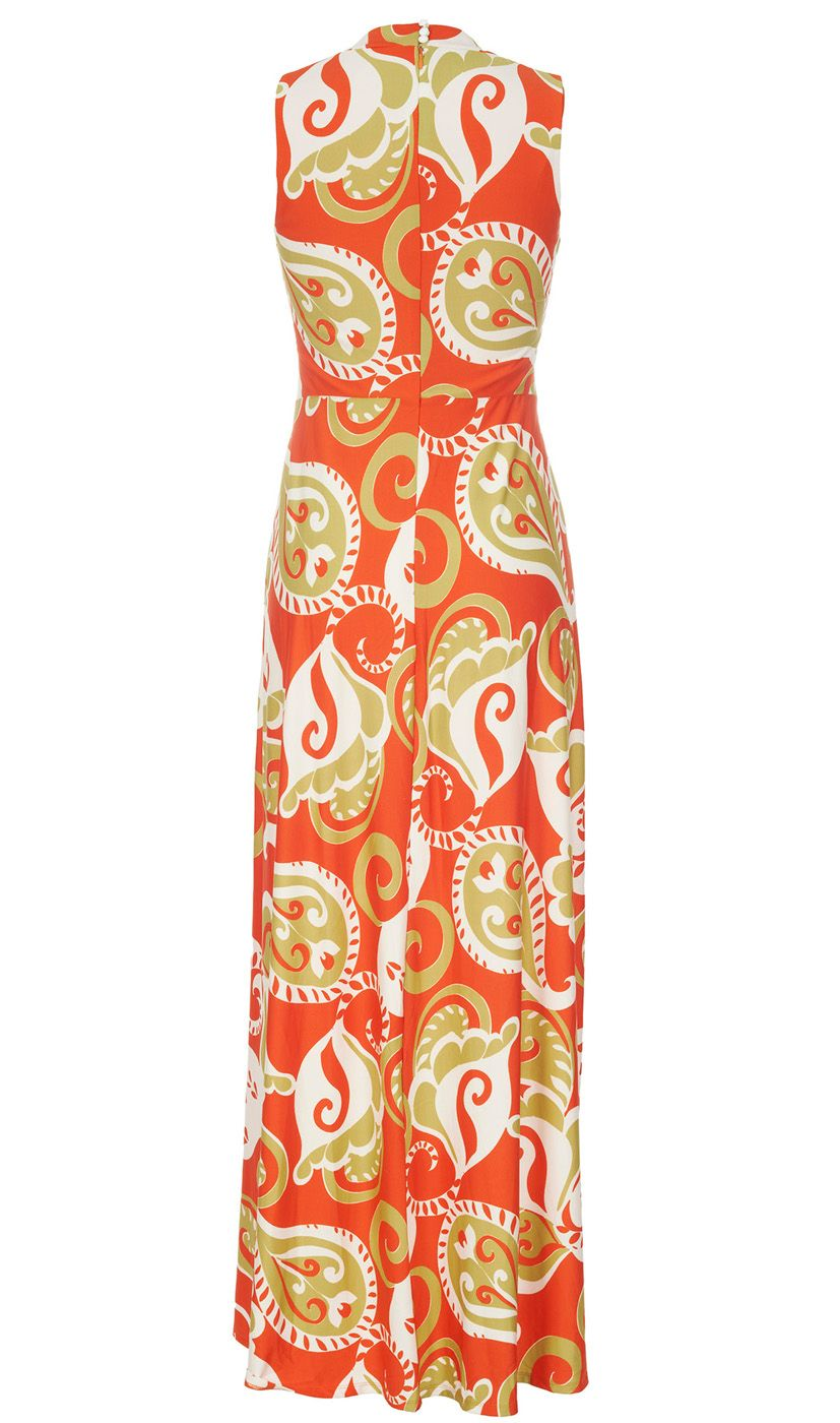 Almost Famous Paisley Print Maxi Dress in Red (Orange)