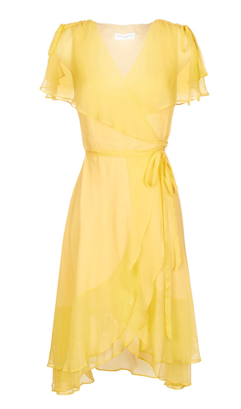 Almost famous Chiffon Wrap Dress in Yellow | Lyst