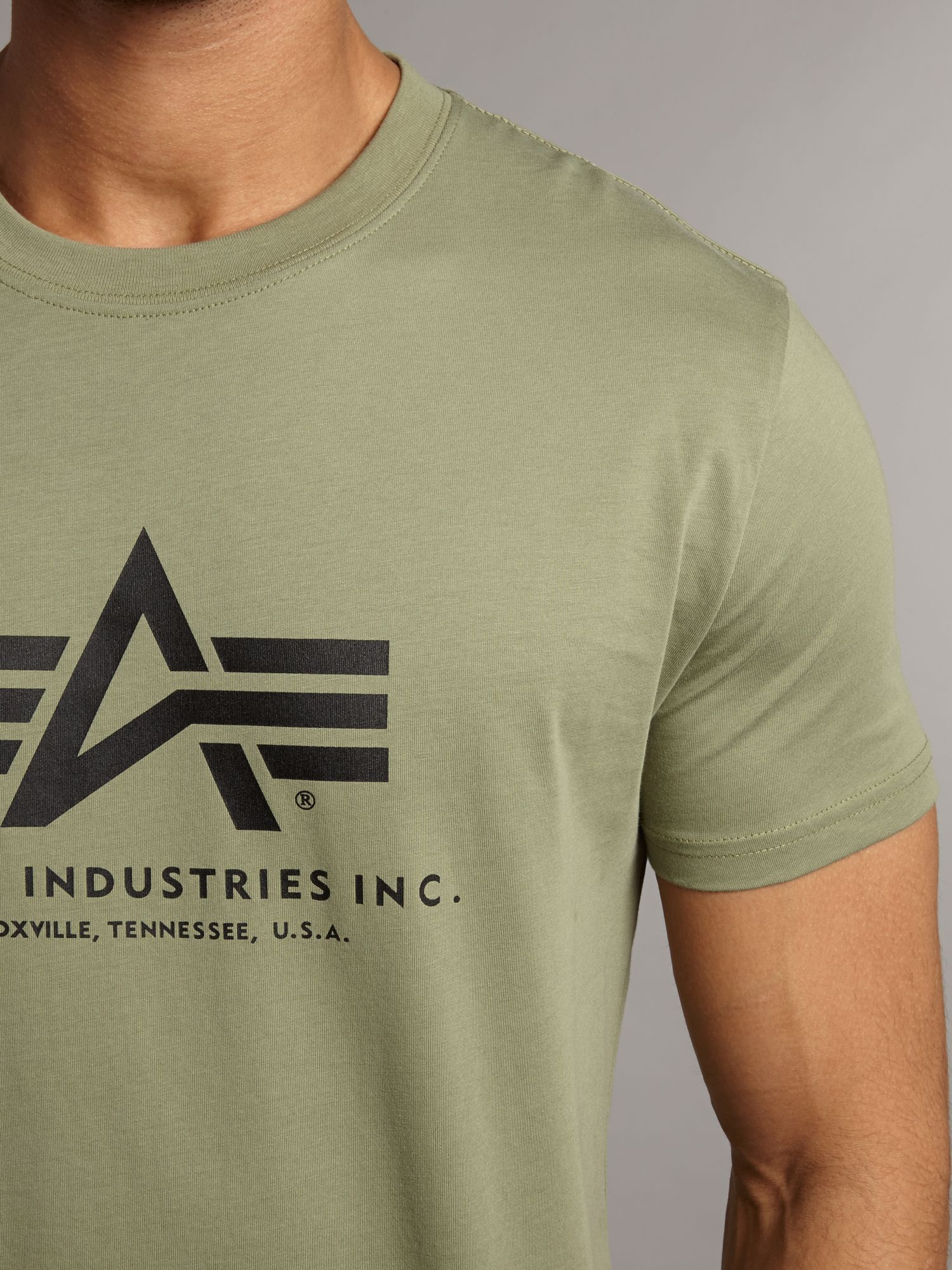 alpha industries branded crew neck t shirt in green for. Black Bedroom Furniture Sets. Home Design Ideas