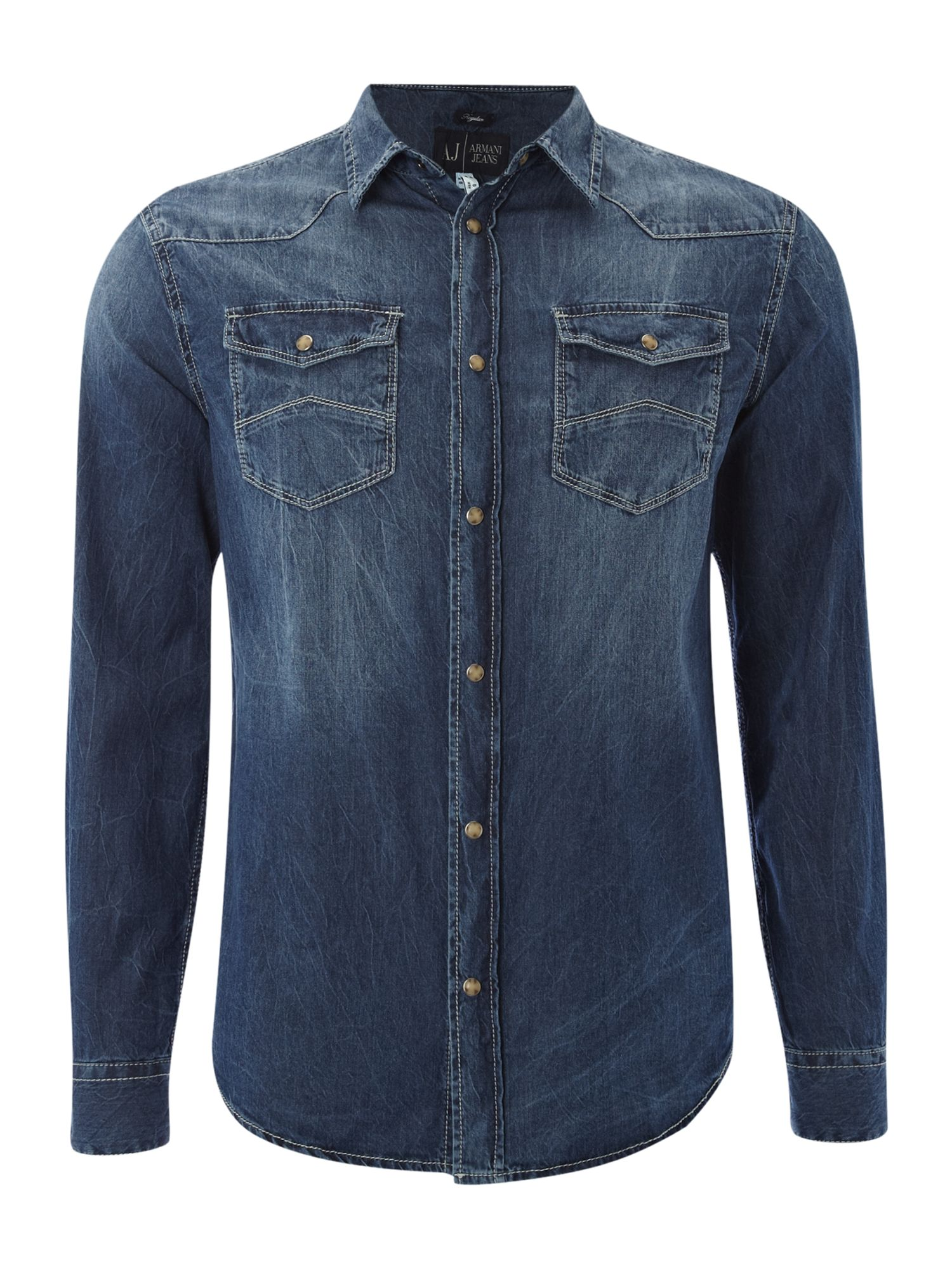Armani Jeans Denim Long Sleeved Two Pocket Shirt In Blue