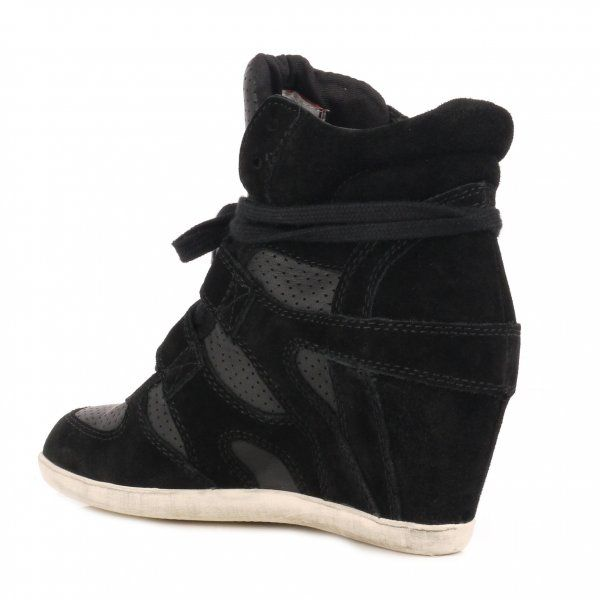 Ash Bea Wedge Hi Top Trainer Shoes in Black