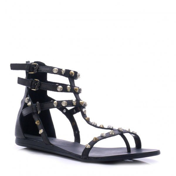 Ash Onno Flat Strappy Sandals In Black Lyst