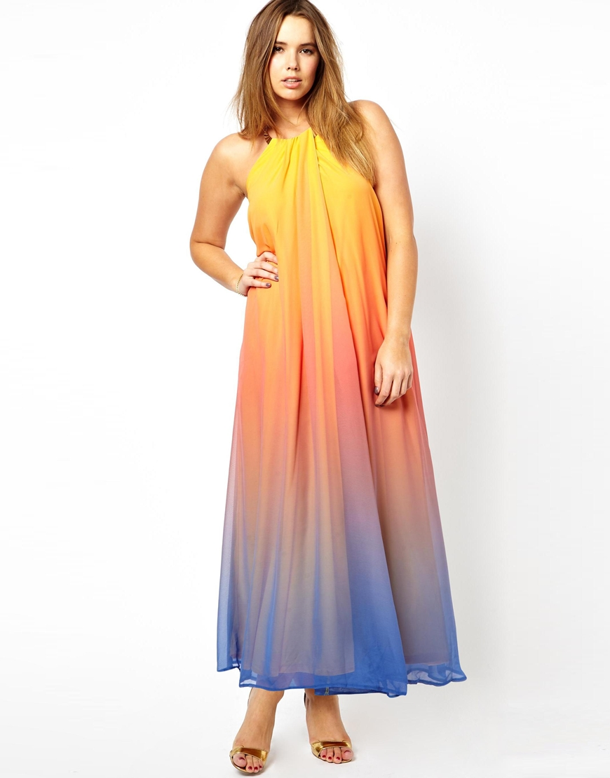 Asos Rainbow Maxi Dress with Necklace Trim in Blue | Lyst