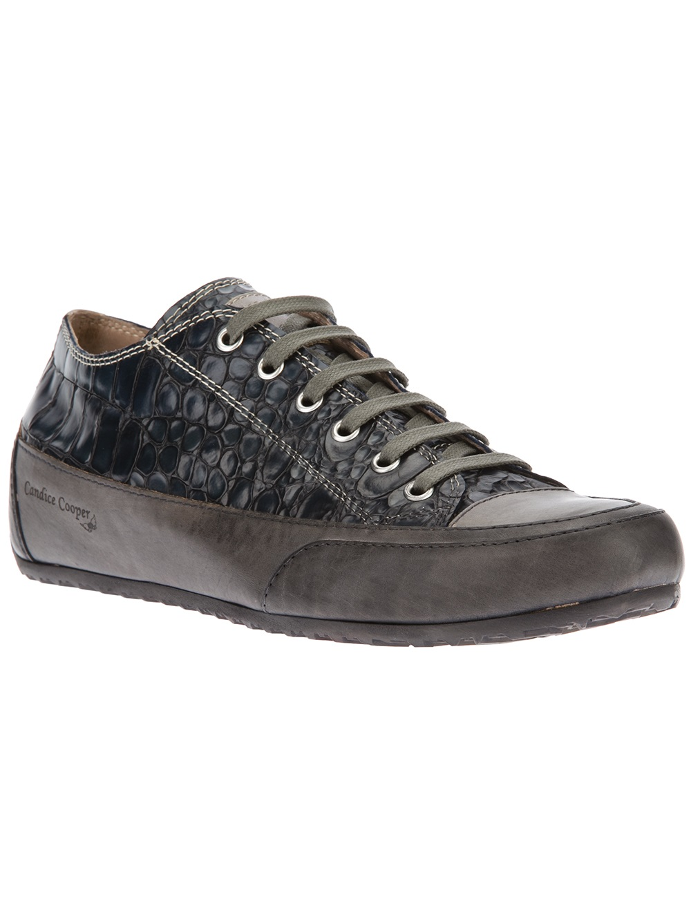 candice cooper crocodile print leather sneakers in gray lyst. Black Bedroom Furniture Sets. Home Design Ideas
