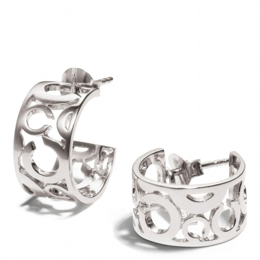 Coach Pierced Op Art Huggie Earrings In Silver Metallic