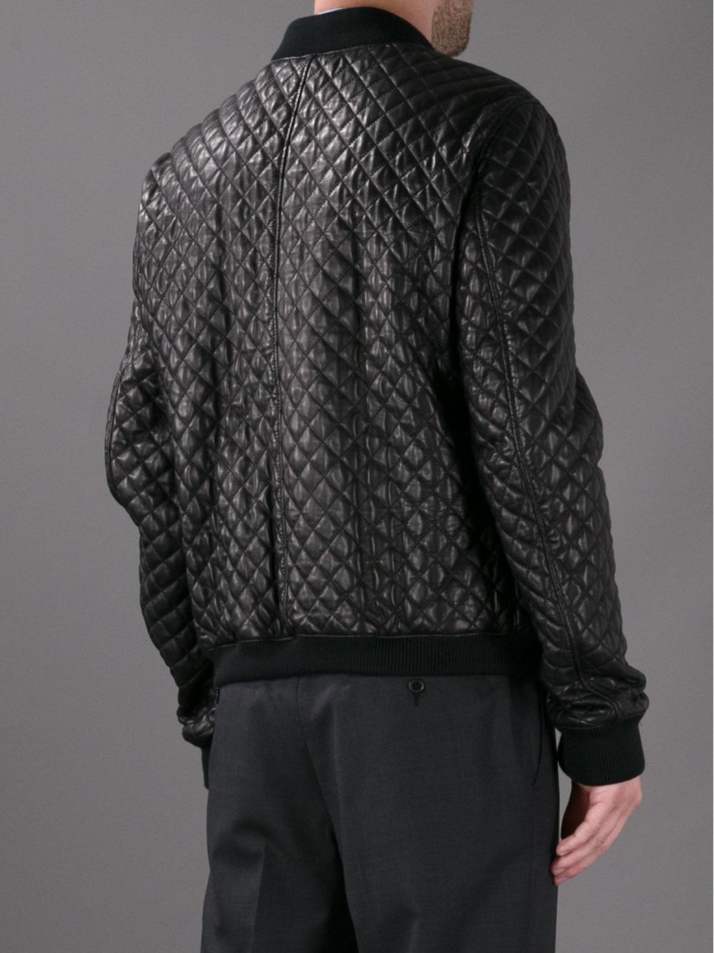 lyst dolce gabbana quilted bomber jacket in black for men. Black Bedroom Furniture Sets. Home Design Ideas