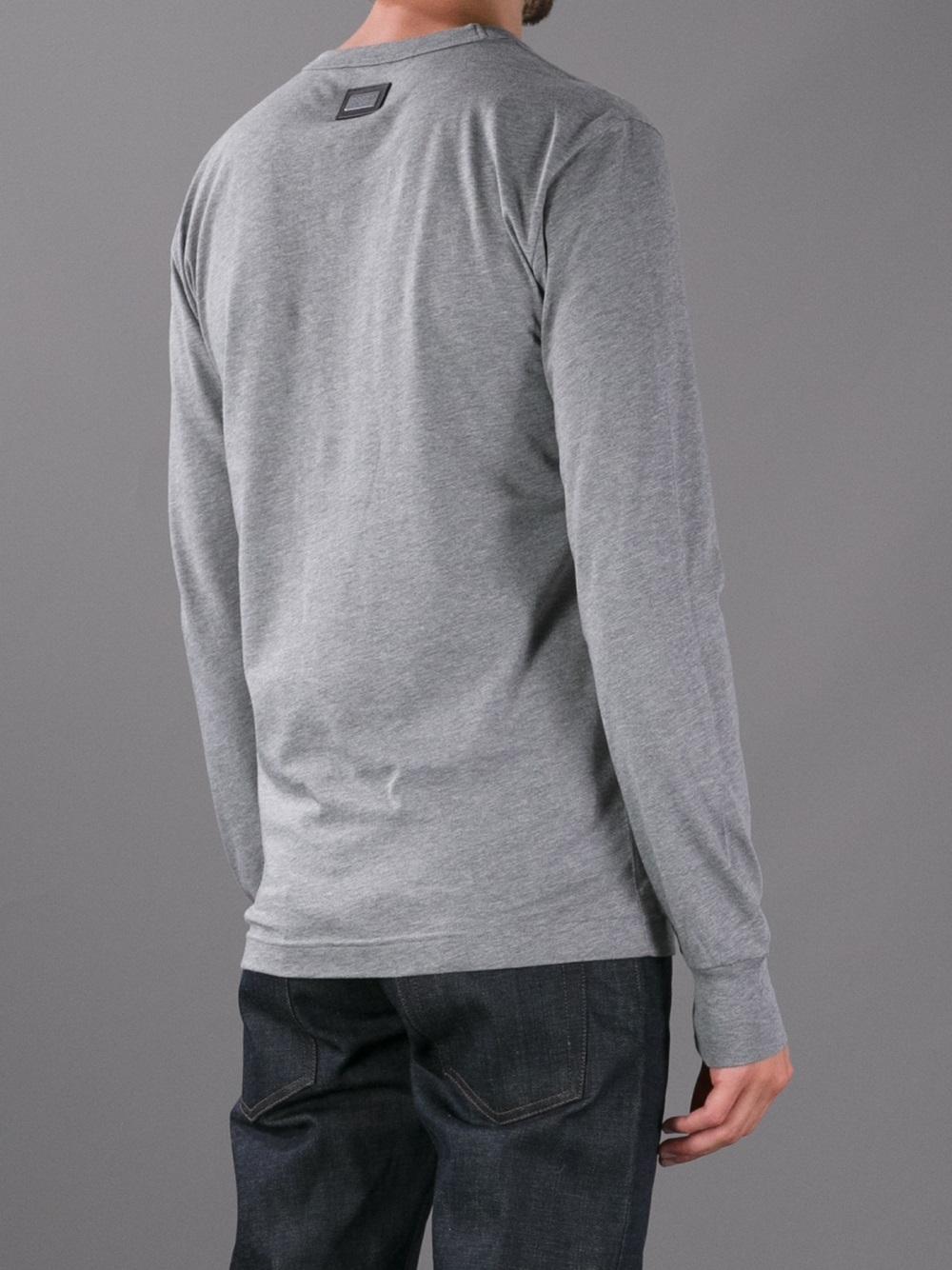 Dolce & Gabbana Long Sleeve Crew Neck Tshirt in Grey (Grey) for Men