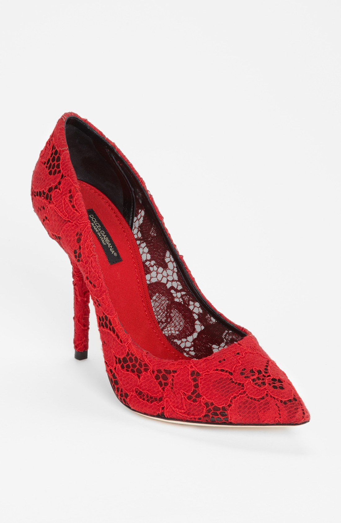 Dolce Amp Gabbana Lace Pointy Toe Pump In Red Lyst