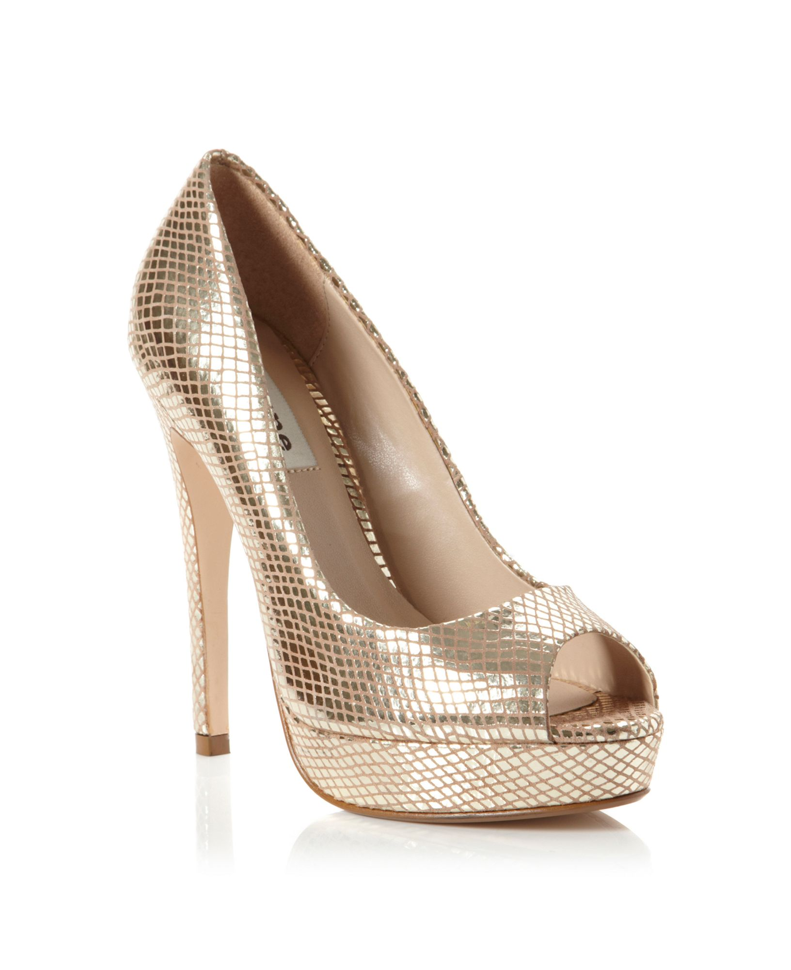 dune chamber high peep platform shoes in gold lyst