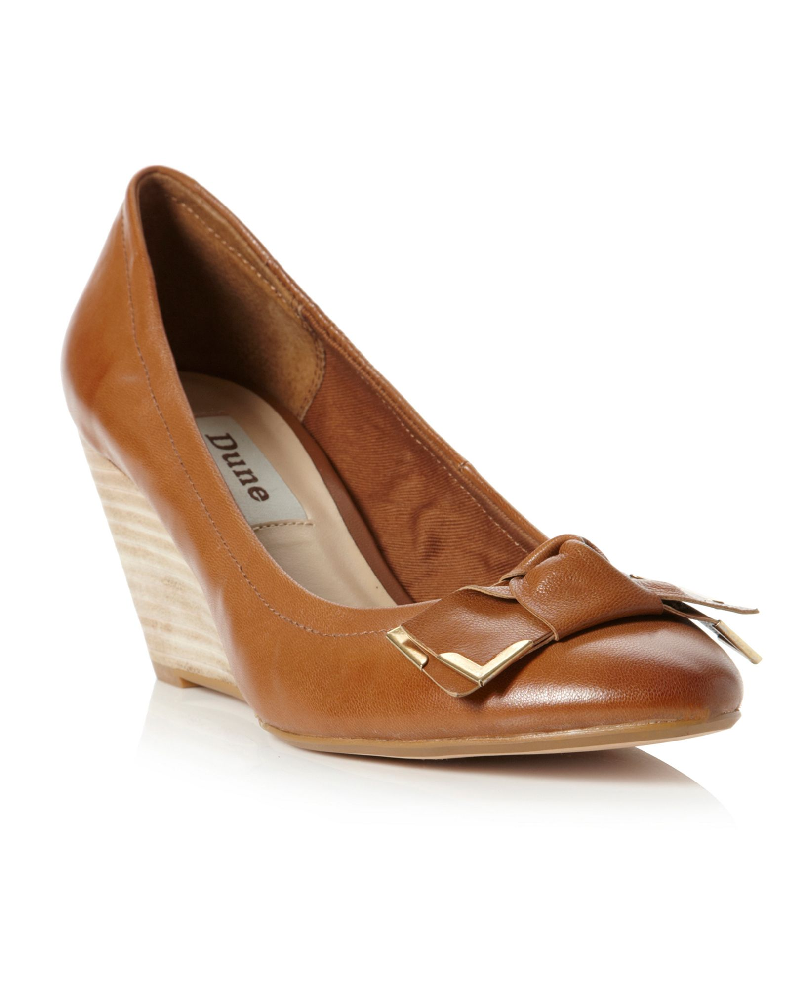 dune accurate metal bow wedge court shoes in brown lyst