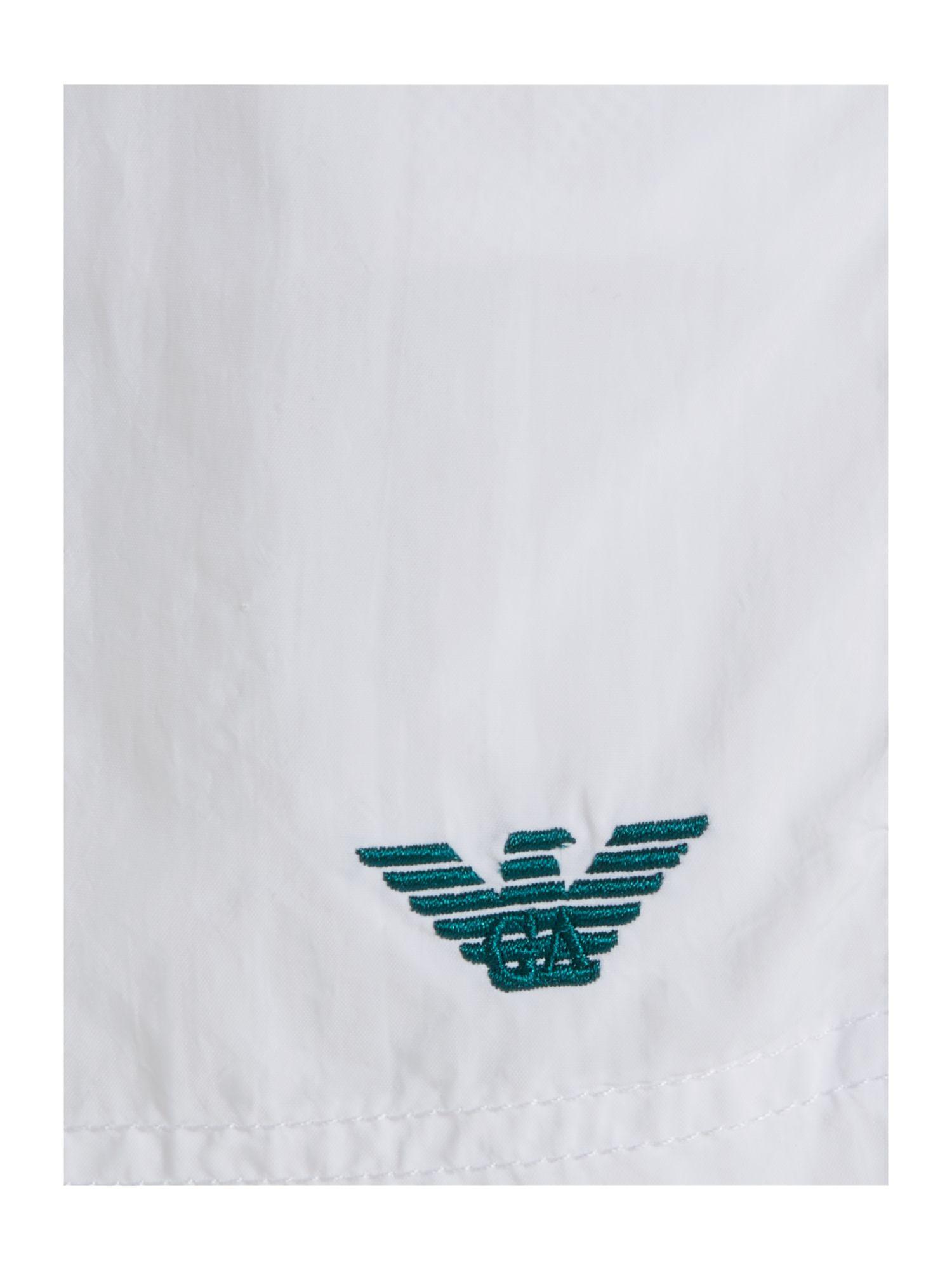 Emporio armani embroidery logo swim short in white for men - Emporio giorgio armani logo ...
