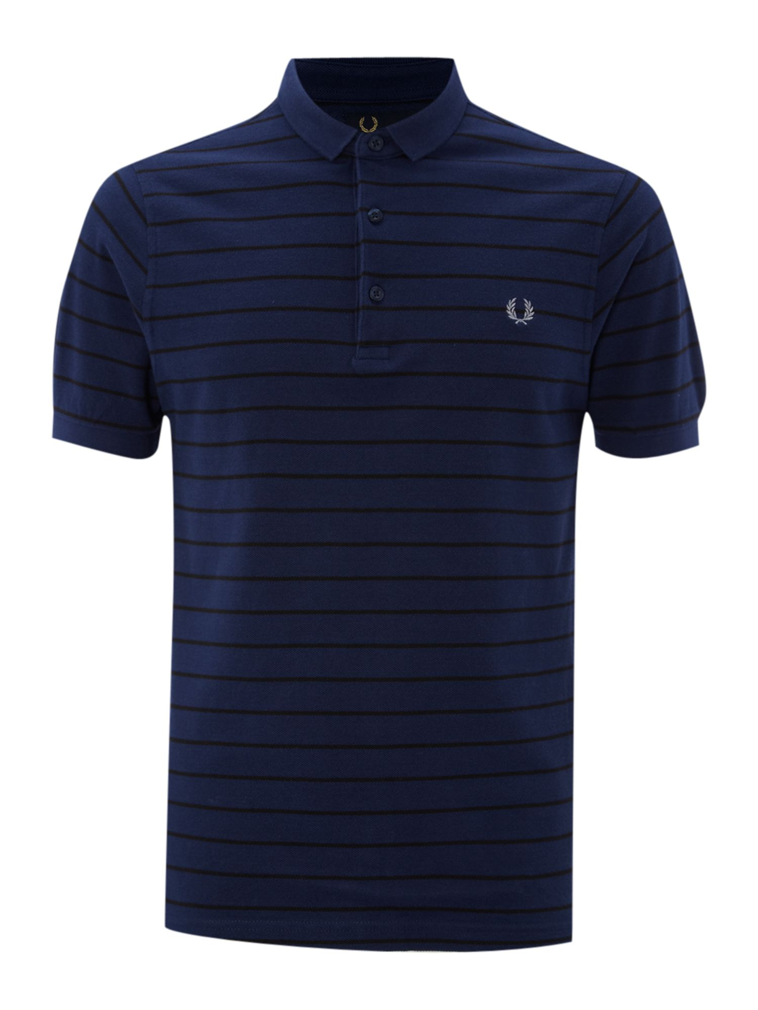 Fred Perry Slim Fitted Fine Striped Polo Shirt In Blue For