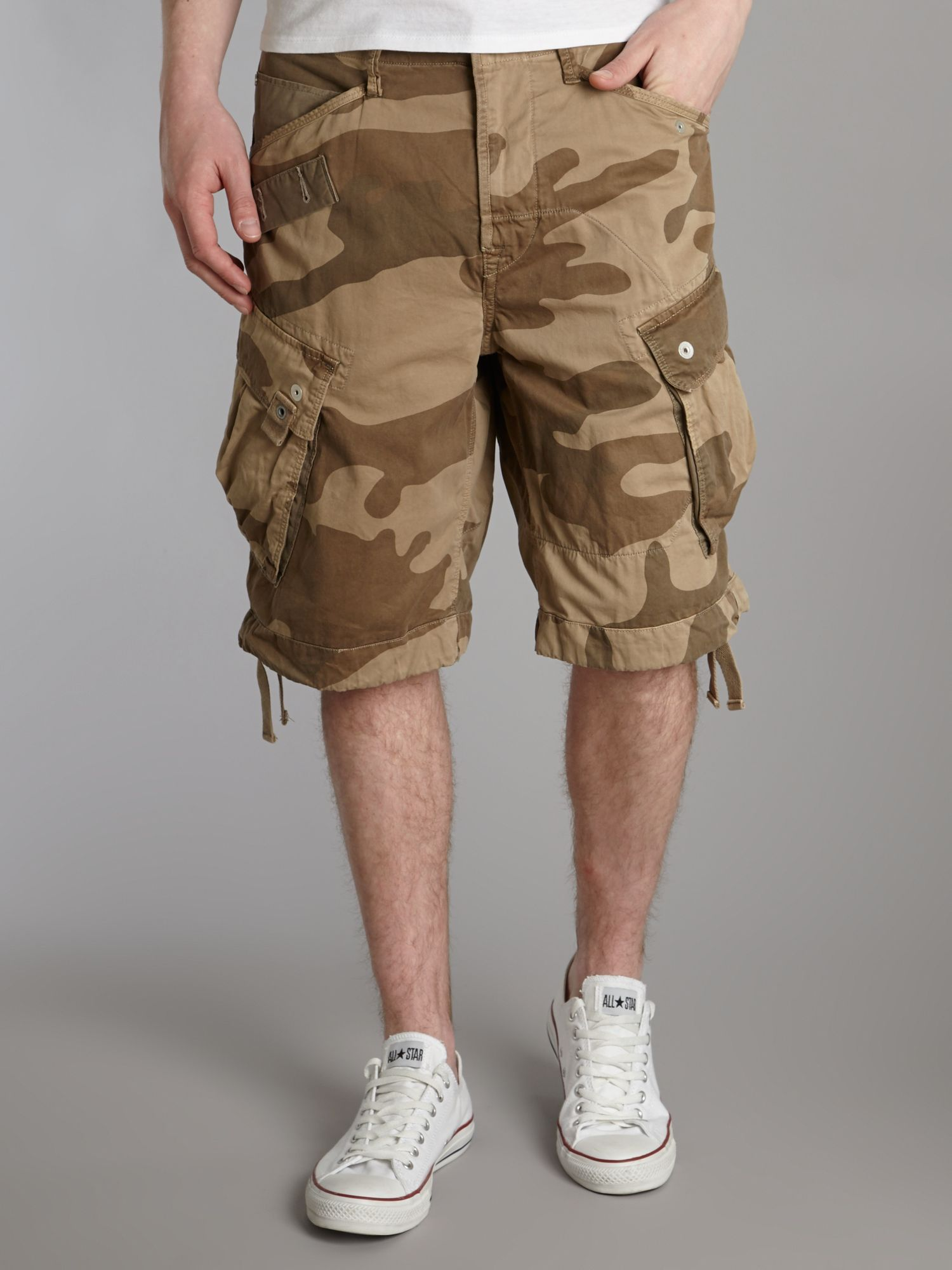 g star raw rovic loose fit camo king shorts in brown for. Black Bedroom Furniture Sets. Home Design Ideas